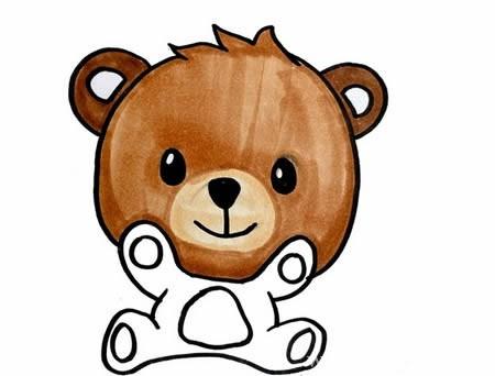小熊简笔画如何画简单又可爱 彩色 步骤图解