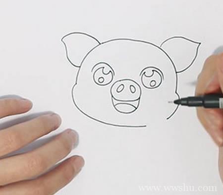 可爱卡通小猪简笔画如何画