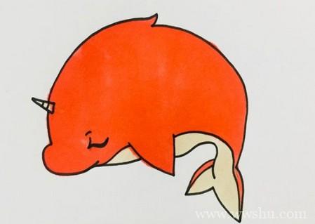 大鱼海棠鲲简笔画图片带颜色