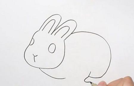 用3画兔子可爱小动物的简笔画四步