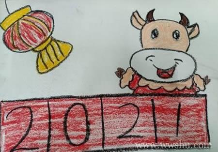 2021牛年简笔画图片大全彩色