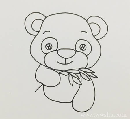 熊猫吃竹子简笔画彩色可爱