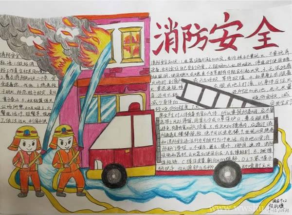 防溺水及消防安全手抄报简单好画又漂亮