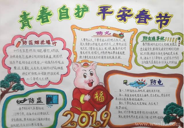平安春节手抄报简单又漂亮图片内容