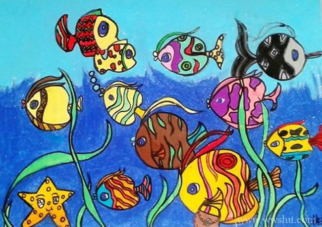 海底世界五颜六色的鱼儿童画