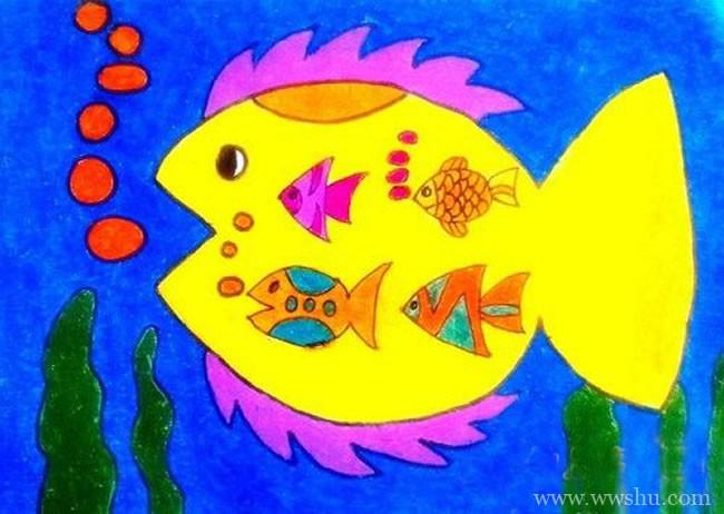吐泡泡的五彩鱼儿童画
