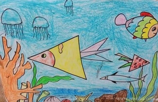 可爱的海底世界儿童蜡笔画图片