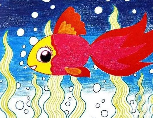 美丽的鱼儿卡通海底世界儿童画图片
