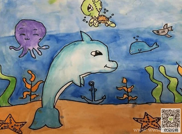 小学生海底世界之旅儿童画作品图片