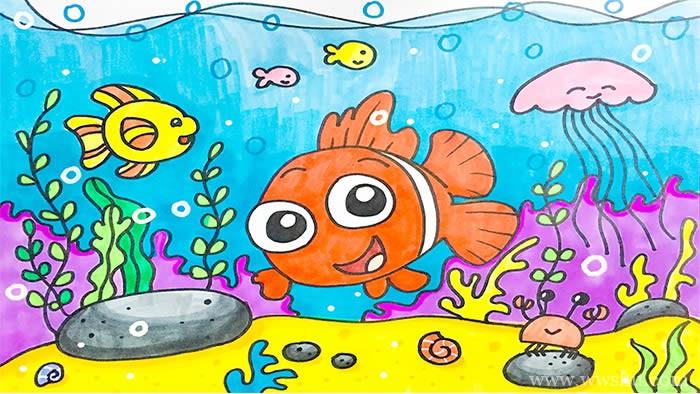 海底世界儿童画简单又漂亮六年级