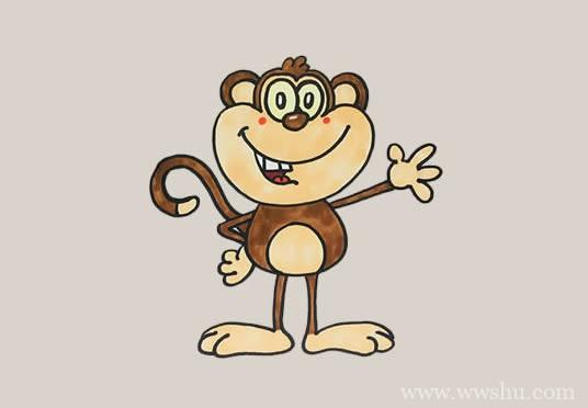 卡通猴子如何画简笔画简单又可爱