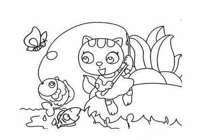 小猫钓鱼简笔画图片大全可爱简单