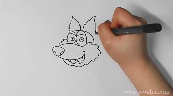 卡通狼简笔画带颜色-卡通狼如何画简单又漂亮