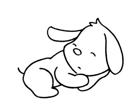 睡觉的小狗小猫小熊小猪动物简笔画图片大全