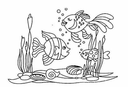 海底世界简笔画图片带颜色-海底世界简笔画