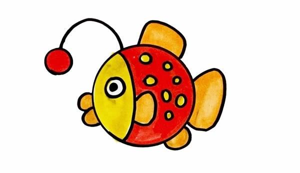 灯笼鱼简笔画彩色画法步骤图片教程_灯笼鱼简笔画