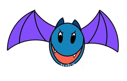 卡通蝙蝠简笔画彩色画法步骤图片
