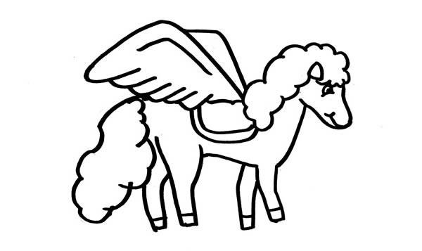 飞马简笔画_漂亮的独角兽飞马简笔画步骤图解教程