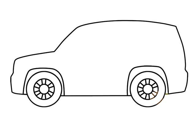 SUV吉普车简笔画步骤画法图片