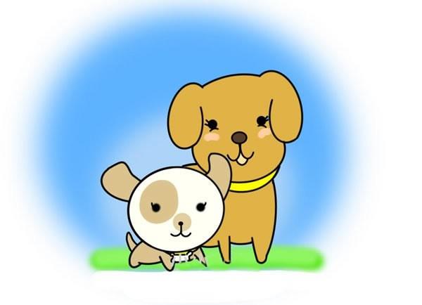 小狗妈妈和宝宝简笔画步骤画法图片