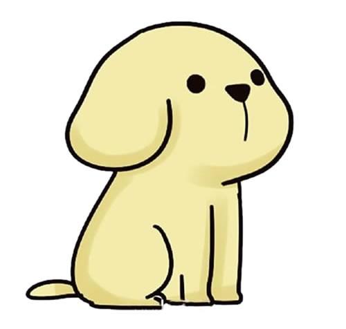 卡通小黄狗简笔画步骤画法教程