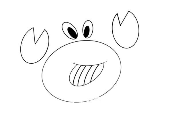 卡通螃蟹简笔画彩色_卡通螃蟹的画法简笔画图片