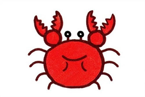 彩色大闸蟹简笔画画法步骤图片_卡通螃蟹简笔画步骤图解教程