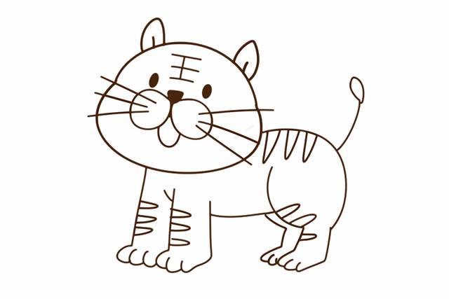 简笔画老虎的画法_小老虎简笔画彩色画法图片