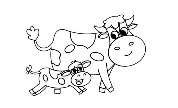 奶牛妈妈和小奶牛儿童简笔画画法步骤图片