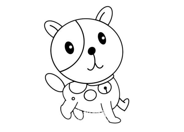 卡通小狗简笔画_戴铃铛的小狗简笔画步骤画法图片