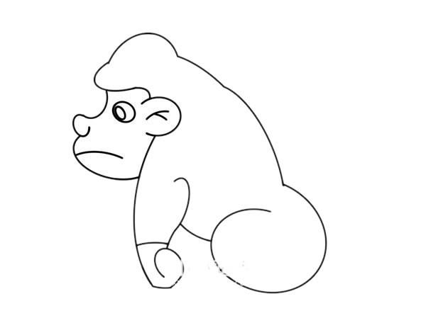 卡通大猩猩简笔画彩色画法步骤图片