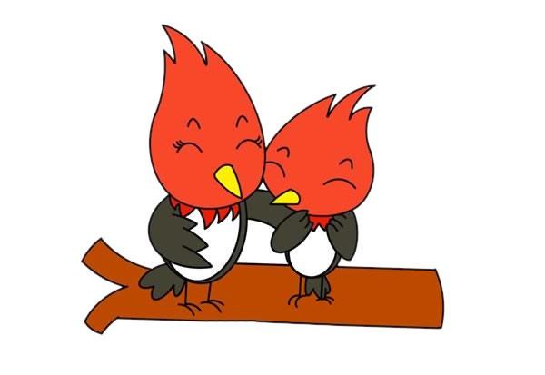 【啄木鸟简笔画】卡通啄木鸟父子简笔画彩色画法步骤图片