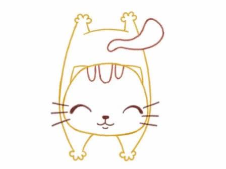 可爱小猫简笔画画法步骤图片_小猫