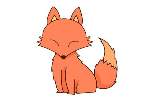 小狐狸可爱简笔画彩色画法图片