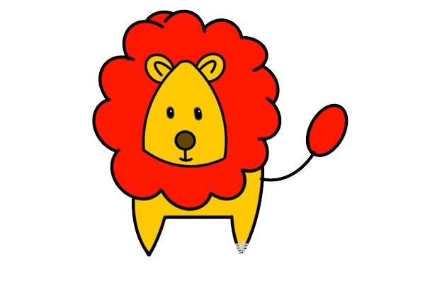 卡通狮子简笔画步骤图解教程