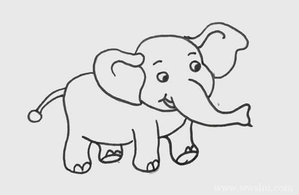 可爱大象简笔画彩色画法步骤图片_大象的简笔画法