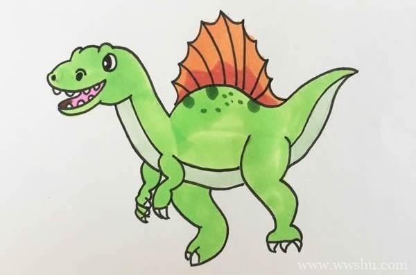 恐龙简笔画,棘龙简笔画画法步骤图片