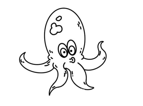 卡通章鱼简笔画步骤画法图片