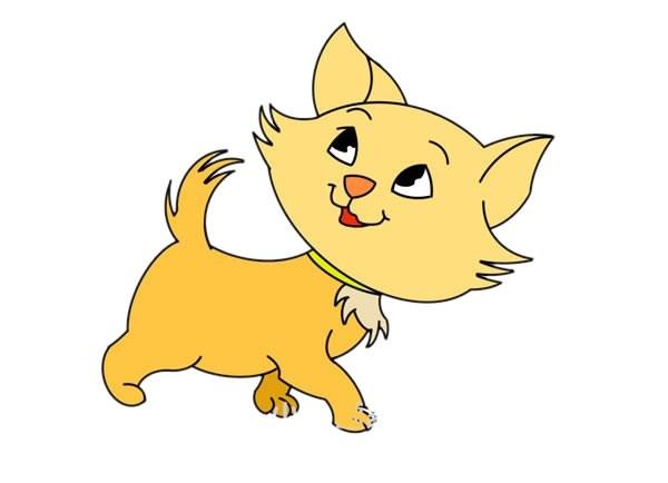 可爱黄色猫咪简笔画画法步骤图片