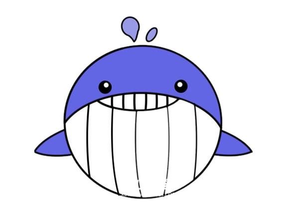 卡通鲸鱼简笔画画法步骤图片