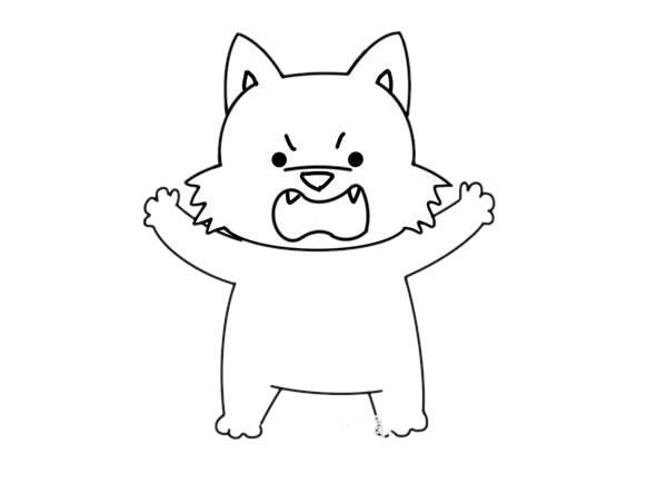 可爱的卡通大灰狼简笔画画法步骤图片_大灰狼如何画