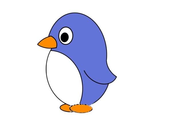 卡通企鹅简笔画的画法步骤教程