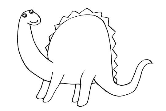 梁龙简笔画恐龙画法步骤图片大全