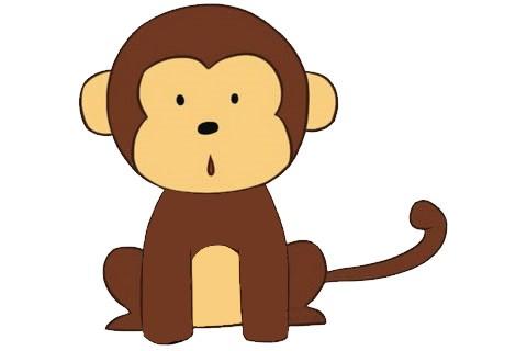 卡通猴子简笔画的画法步骤图片大全
