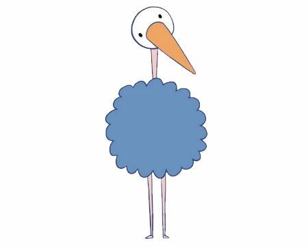 卡通鸵鸟简笔画画法步骤图片