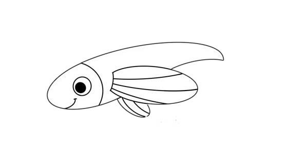 飞鱼画法_卡通飞鱼简笔画步骤图解教程