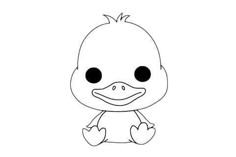 小鸭子简笔画的简单画法步骤图片大全