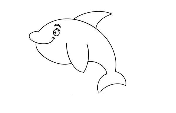 漂亮的海豚简笔画画法步骤图片教程