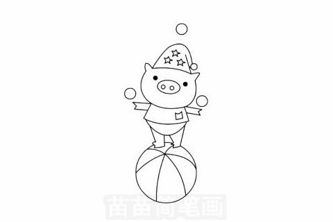 马戏团卡通小猪简笔画步骤图解教程