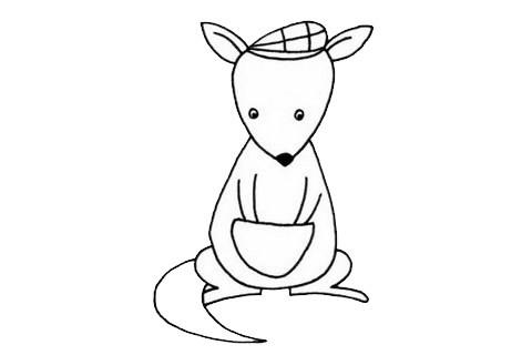 袋鼠简笔画画法步骤教程及图片大全